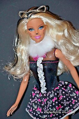 Pretty Fashion Barbie Doll In Kitty Cat Halloween Costume Mardi Gras Outfit