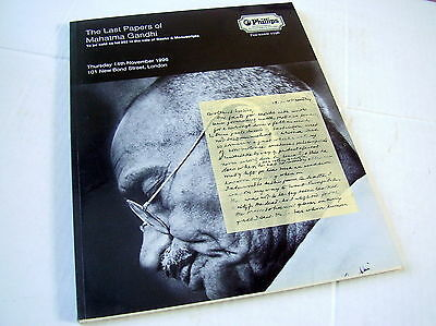 The Last Papers Of Mahatma Gandhi~Catalogue~Phillips~1996