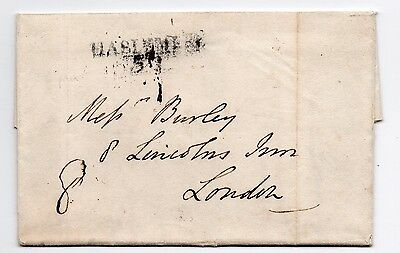 1825 entire letter Hazelmere Surrey to Linclons Inn London about sons £4000 debt