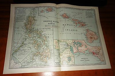 PHILIPPINE ISLANDS AND HAWAII - ADAM & CHARLES Antique Map 1903