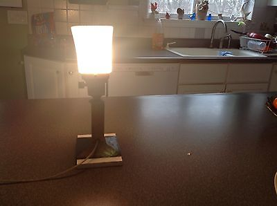 Vintage mission style table /beam lamp cut glass shade