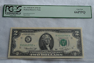 FR. 1935 K  $2 1976 STAR Federal Reserve Note Dallas  PCGS 66PPQ