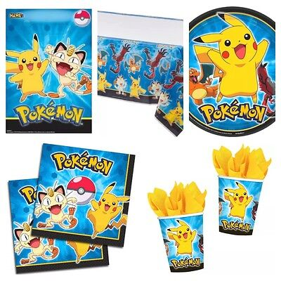 Pokemon Deluxe Birthday Party Kit for 8-40 Plates Cups Napkins Party Bags Cover