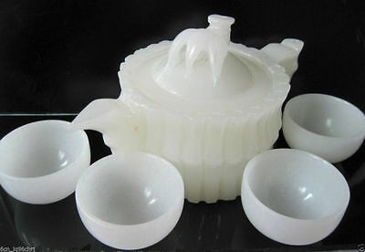 100% Natural Chinese White Jade Hand-Carved Bamboo Teapot Set