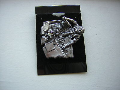 Iron Maiden Pin On Card 1990 Official Merchandise Pewter Metal Steve Harris