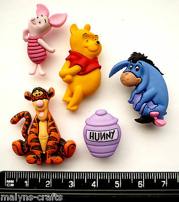Disney WINNIE THE POOH Craft Buttons Tigger Eeyore Piglet Poo Bear Honey Novelty