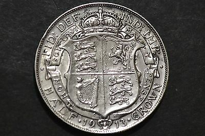 1913 King George V Silver Coin Half Crown.