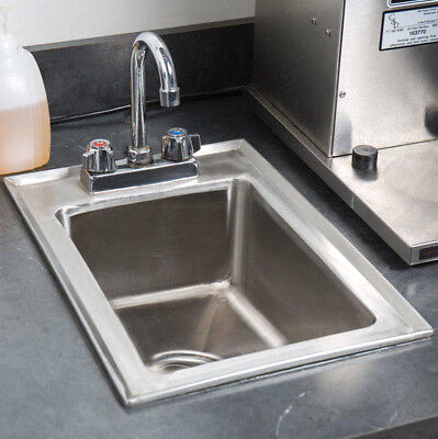 "10"" x 14"" x 5"" Stainless Steel Drop In Sink Commercial Hand Wash Bar W/ FAUCET"