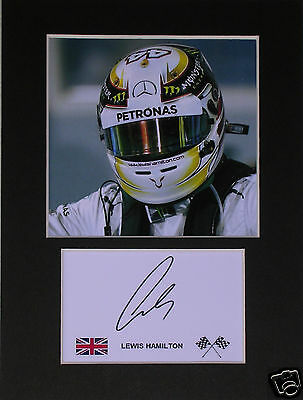 Lewis Hamilton Mercedes F1 signed mounted autograph 8x6 photo print display  #D3