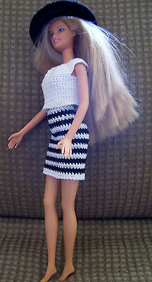 Hand Crocheted Skirt Top Hat for Barbie Clothes Barbie Doll Clothes