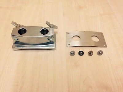 """BASS / KICK DRUM DOUBLE TOM BRACKET / HOLDER FITS 7/8"""" / 22mm arms / Posts"""