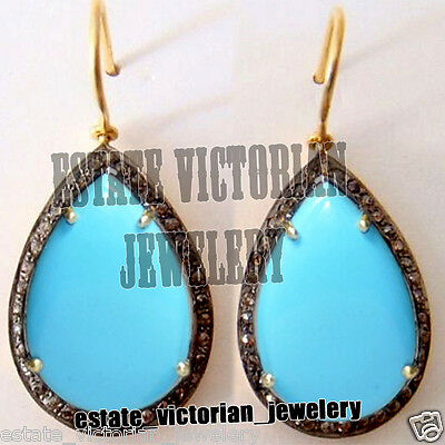 Vintage Estate 1.95Ct Rose Cut Diamond Sterling Silver Turquoise Earring Jewelry