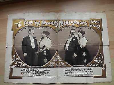 Original Fairground Show Poster Chas Pooles Realisations Of Natures Wonders 1897