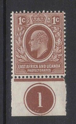 EVII 1c single stamp with a plate No. East Africa and Uganda Protectorate