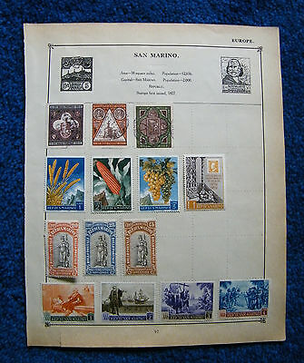 Eight Old Album Pages with San Marino Stamps.