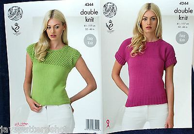 Ladies Double Knit Easy Knit & Lacy Summer Top Knitting Pattern 32 - 46 inch