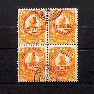 SS4445 HAITI President Pierre Nord Alexis Used Block {4} Red 1c Surcharge