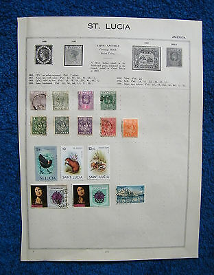 Five Old Album Pages with St Lucia Stamps.