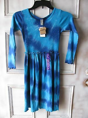 New Mignone Blue Long Sleeve Girls Tie Die Sequin Dress Size  8