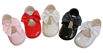 Baypods shoes baby girl LARGE BOW pram crib christening Early Days