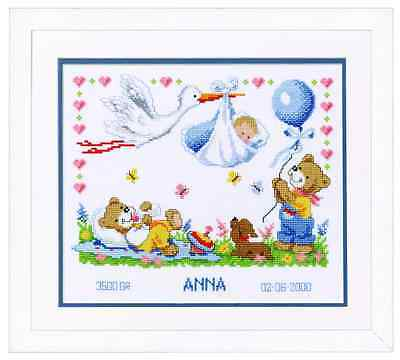 Vervaco Counted Cross Stitch Kit New Arrival Birth Record 2002/70732