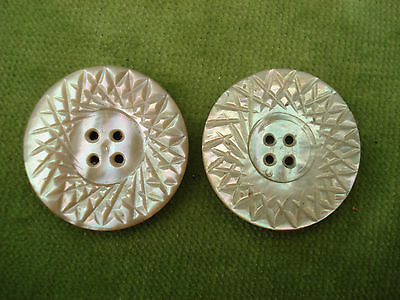 TWO VINTAGE CARVED MOTHER OF PEARL BUTTONS 28mm IN DIAMETER