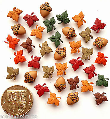 TINY ACORNS & LEAVES Craft Buttons Themed Autumn Garden Flowers Plastic Trees