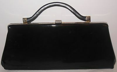 Vintage Black Patent Structured Clutch Handbag Post WWII- early 1960's