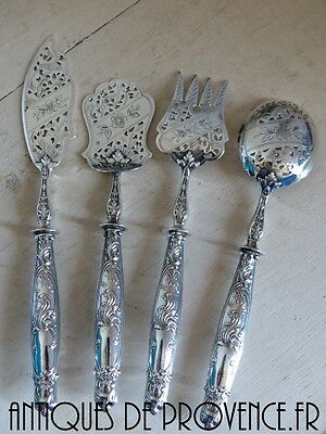 19TH FRENCH NAPOLEON III STERLING SILVER PASTRY / APPETIZER SET 4pc Brilliant