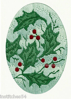 Derwentwater Designs Christmas Long Stitch Kit Holly Leaves Greeting Card
