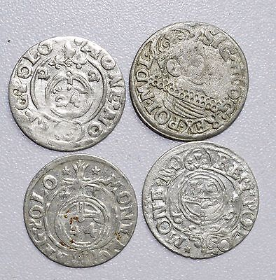 Lot Of 4 Medieval Silver Hammered Coins - Rare Ancient Artifact Fantastic - B736