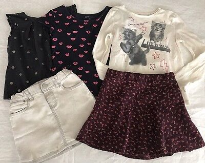 Lot Gap Kids Girls 1969 Denim Mini Skirt Jeans Skirt T Shirt Polkadots Top 6 7 S