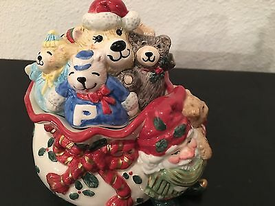 Cute Fitz & Floyd Holiday Elf Lidded Covered Candy Snack Dish Box