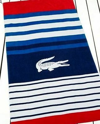 """NWT Lacoste Regate Beach Towel 36"""" * 72""""  Red/Blue/White MSRP: $42.00"""
