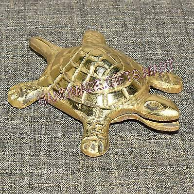Small Solid Brass Metal Vintage Turtle Statue Paper Weight Table Top Decor 2