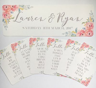 Floral Wedding Table Seating Plan Tags-Header Card-White Pink Vintage