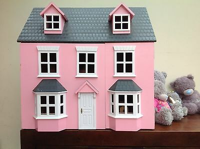 Large Pink Wooden Dolls House With Furniture And Dolls - Excellent Condition