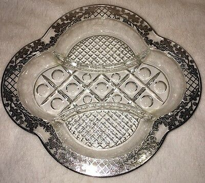 Vintage Sterling Silver Overlay Serving Tray - 3 Sections