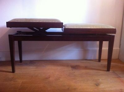 Vintage Adjustable Height Double Duet Piano Stool/ Bench
