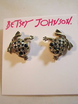 "Betsey Johnson PIerced Earrings FROG TOAD Goldtone w Green Crystals 2/3""x2/3"""