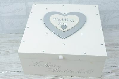 Wedding Memory Box Keepsake Chest Wooden Silver Hearts Planner Box Large  F0519