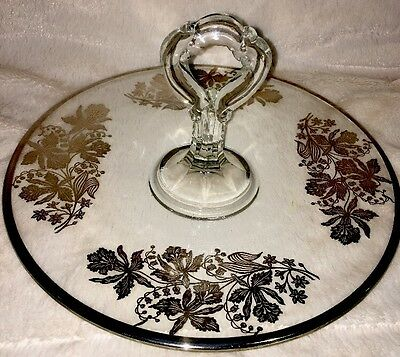 Vintage Sterling Silver Overlay Serving Tray with Flower Design and Large Handle