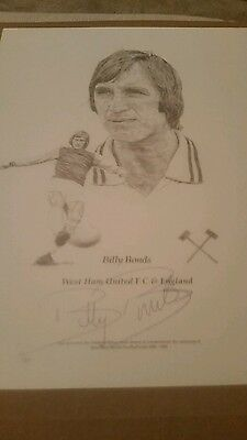 Billy Bonds West Ham Signed Picture FREE POSTAGE