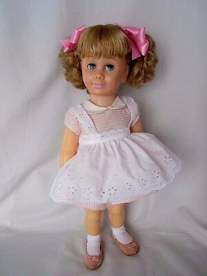 CHATTY CATHY Blonde Pigtail PINK PEPPERMINT STICK  DRESS TALKS FREE SHIPPING