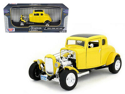 1932 Ford Coupe Hot Rod Yellow 1:18 Diecast Car Model by Motormax - 73172y*