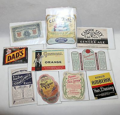 lot of 10 Vintage early Labels Soda Hair tonic lotion Clinton advertisement