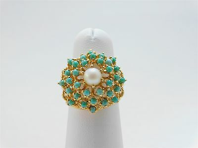 14K Gold Cream Rose Light Pearl and Turquoise Cluster Cocktail Ring LA00178