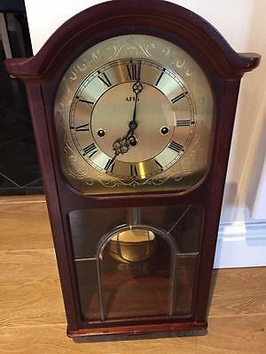 Vintage Ams Chiming Wall Clock In Wooden Case With Key / Pendulum & Working