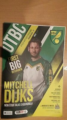 Official Norwich City Fc 2016/17 Programme And Teamsheet Vs Newcastle United