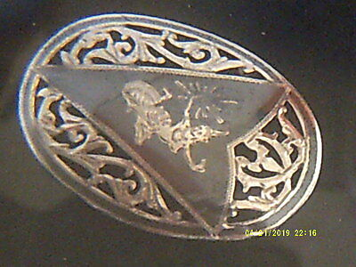 VINTAGE 1940s NIELLO SIAM SILVER ENAMEL LARGE BROOCH,SIAMESE DANCER,VERY ORNATE